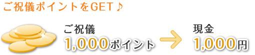 ご祝儀ポイントをGET♪ご祝儀ポイント1000ポイント→現金1000円